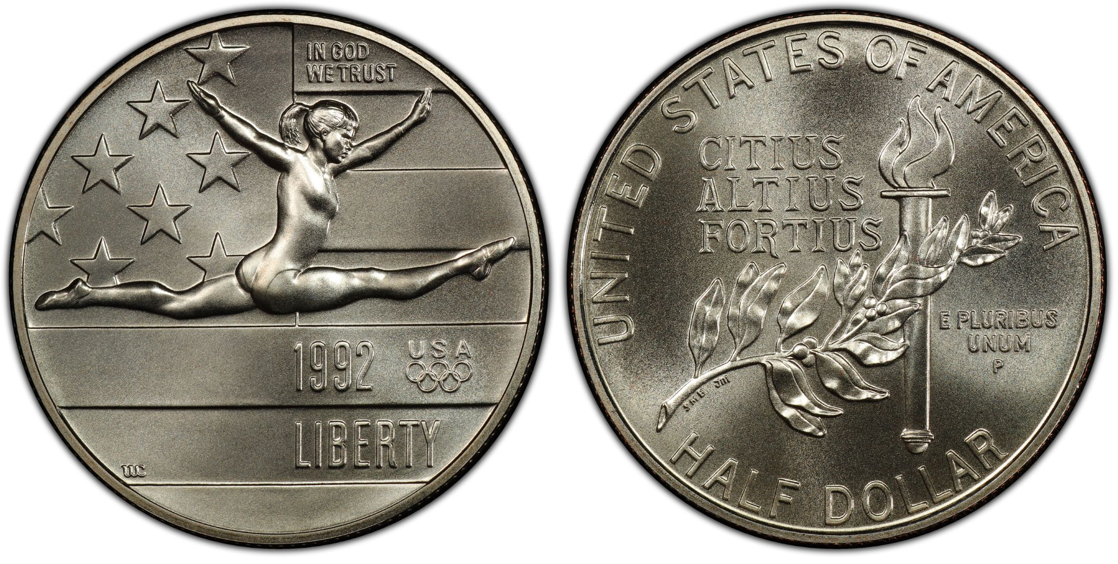 1992-S OLYMPIC LEAPING GYMNAST PROOF 50C PCGS PR69DCAM