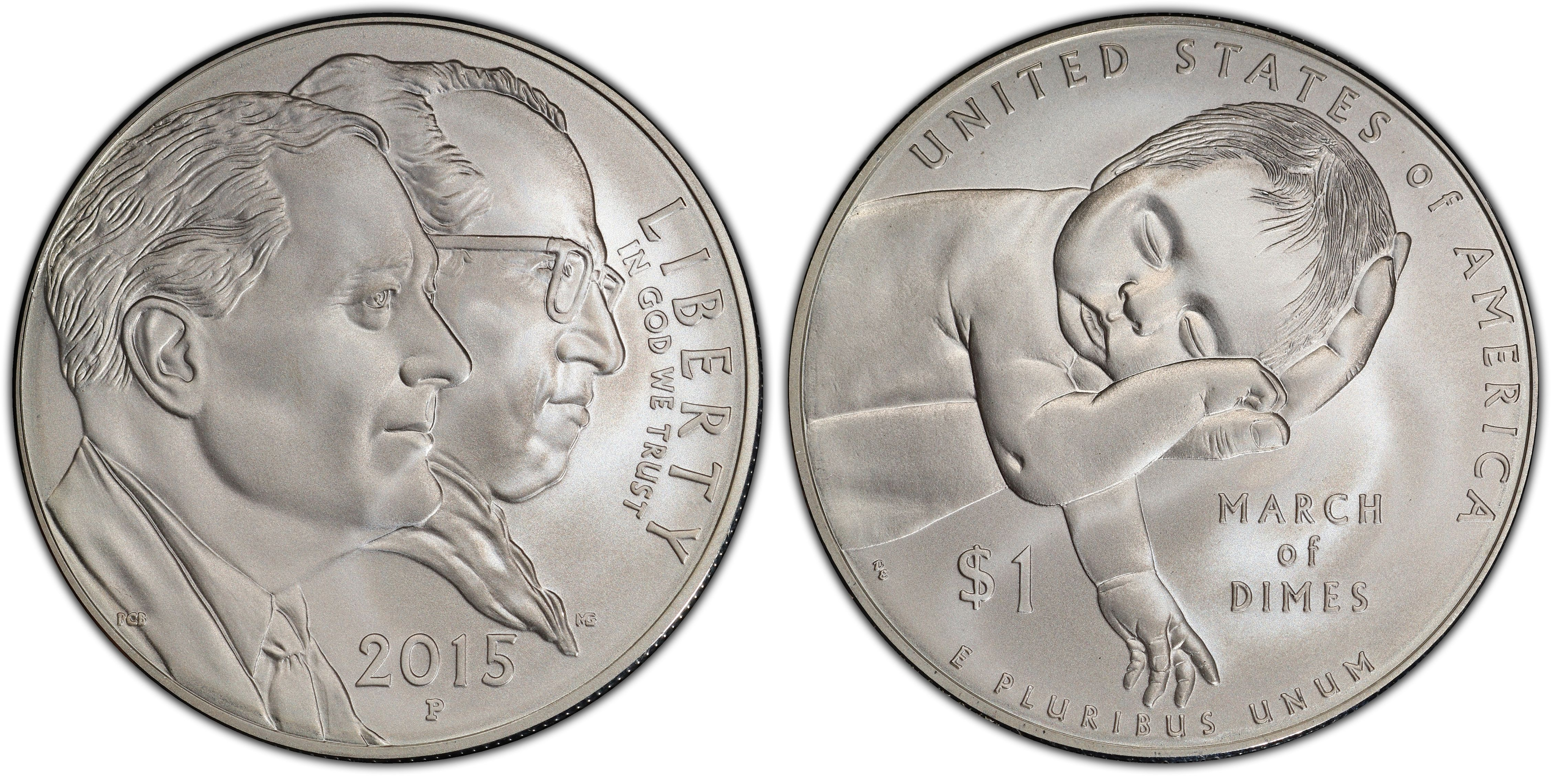 2015-P US March of Dimes Commemorative BU Silver Dollar PCGS MS70 First Strike