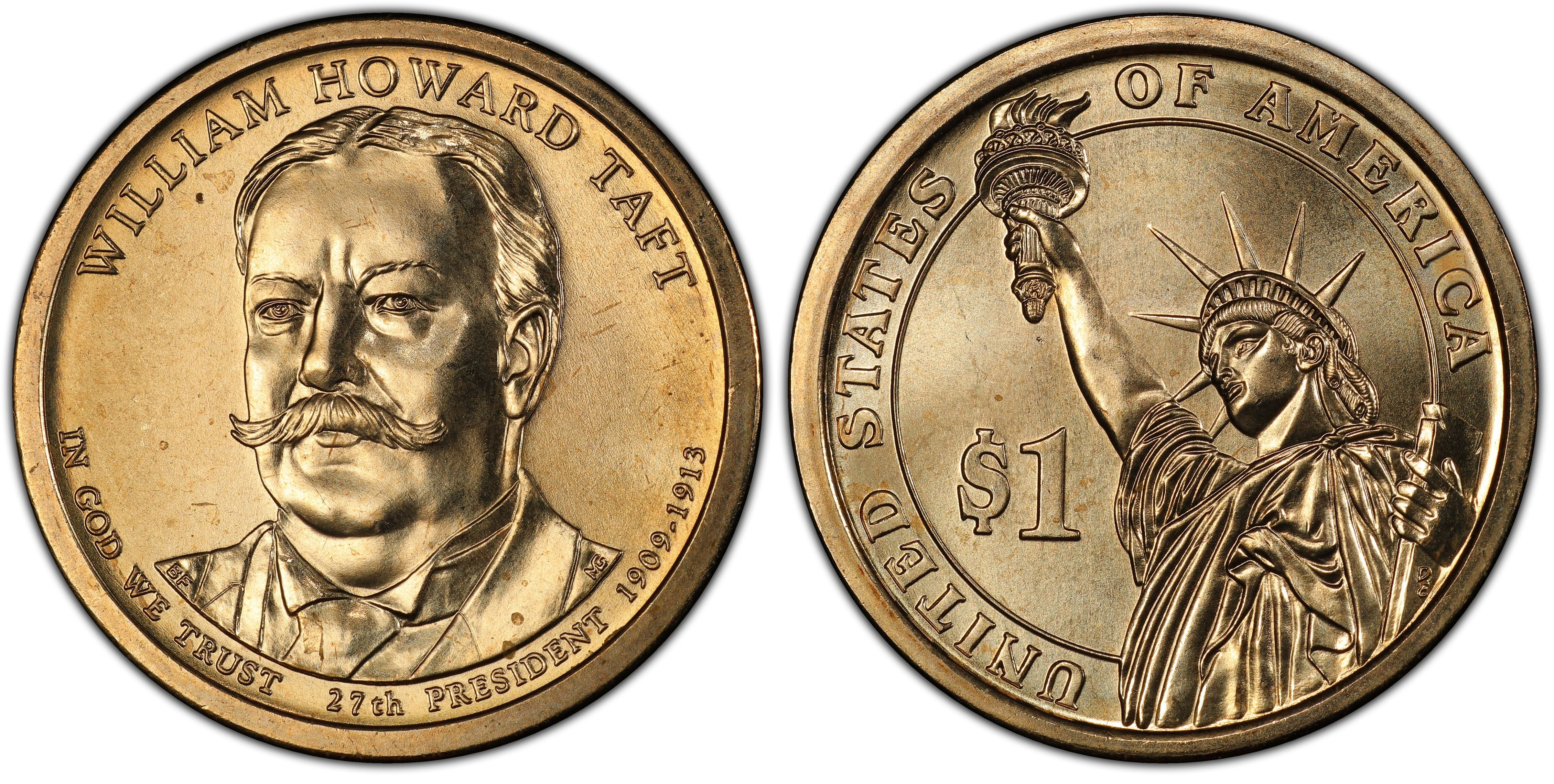 2013 P/&D WILLIAM HOWARD TAFT GOLDEN PRESIDENT DOLLARS TWO COINS SET UNCIRCULATED