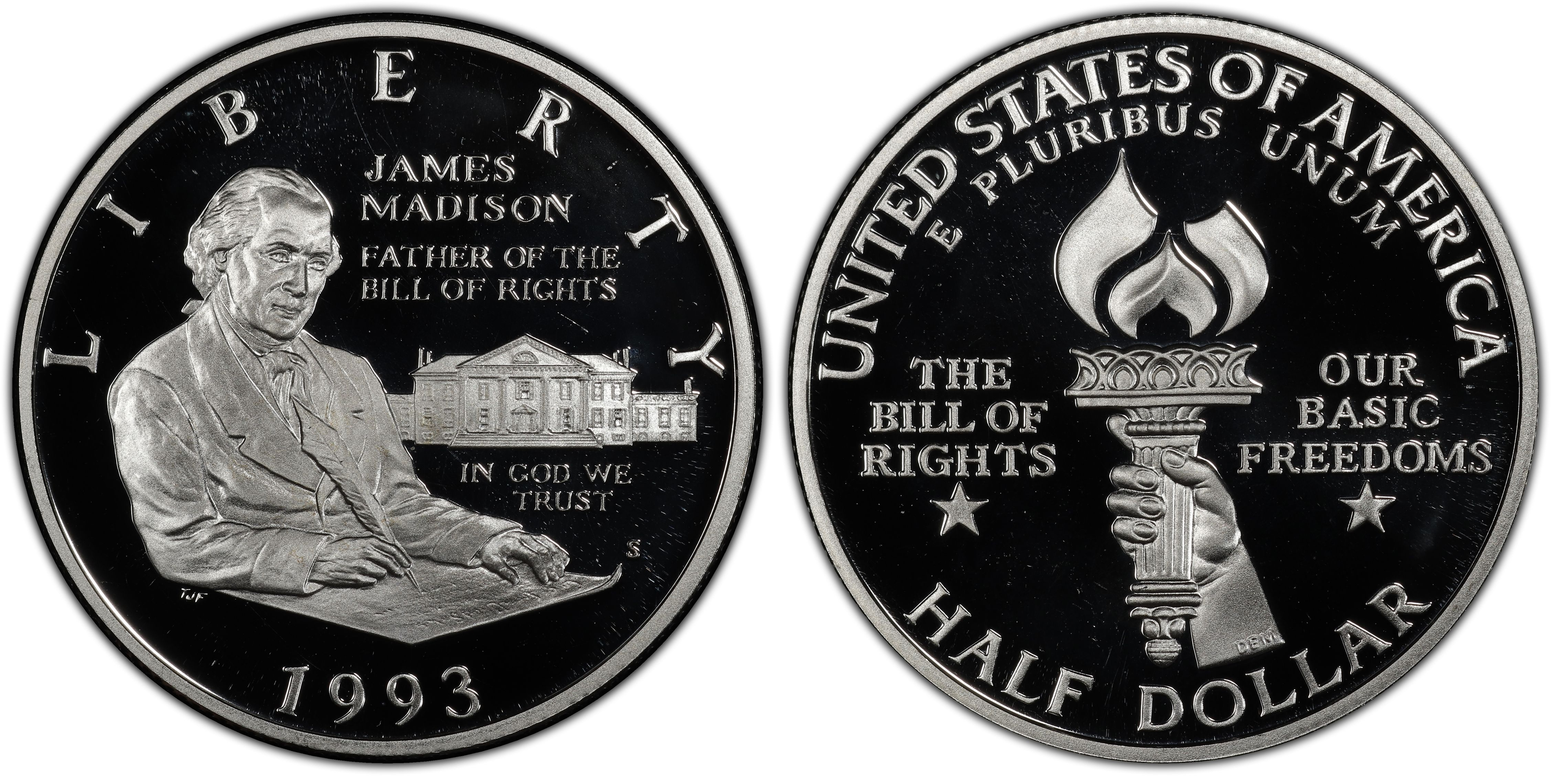 1993 S PROOF Madison Bill of Rights Commemorative Silver Half Dollar US Coin