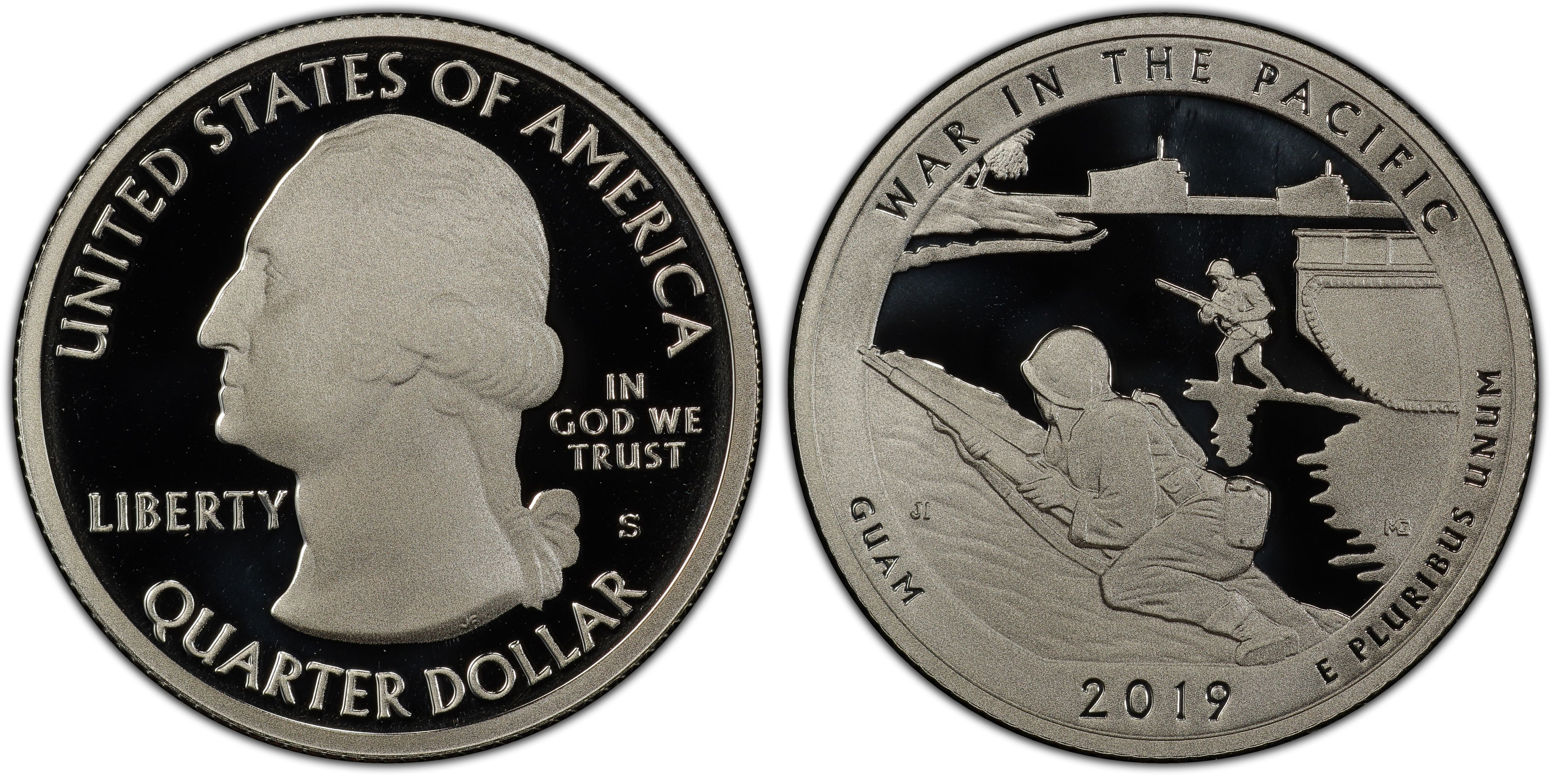 FIRST TIME 99.9 /% silver 2019 S Guam's War in the Pacific Nat.Hist Proof Quarter