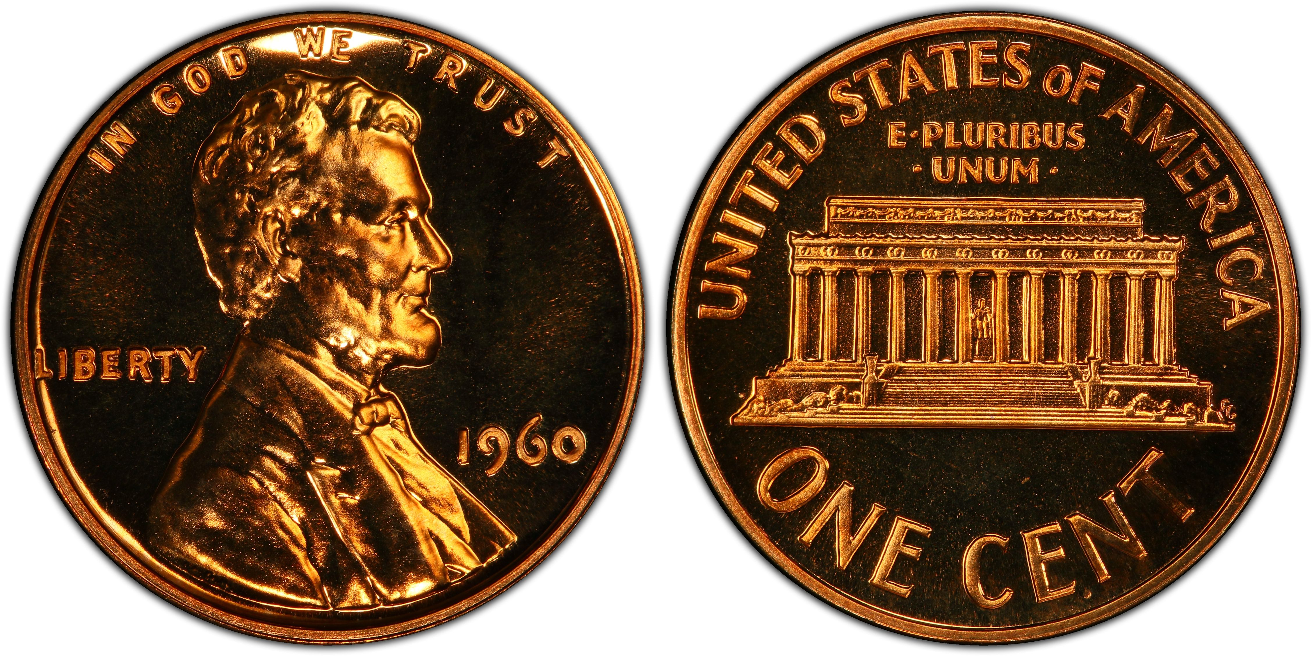 1960 Proof Lincoln Memorial Penny cent Lg Date