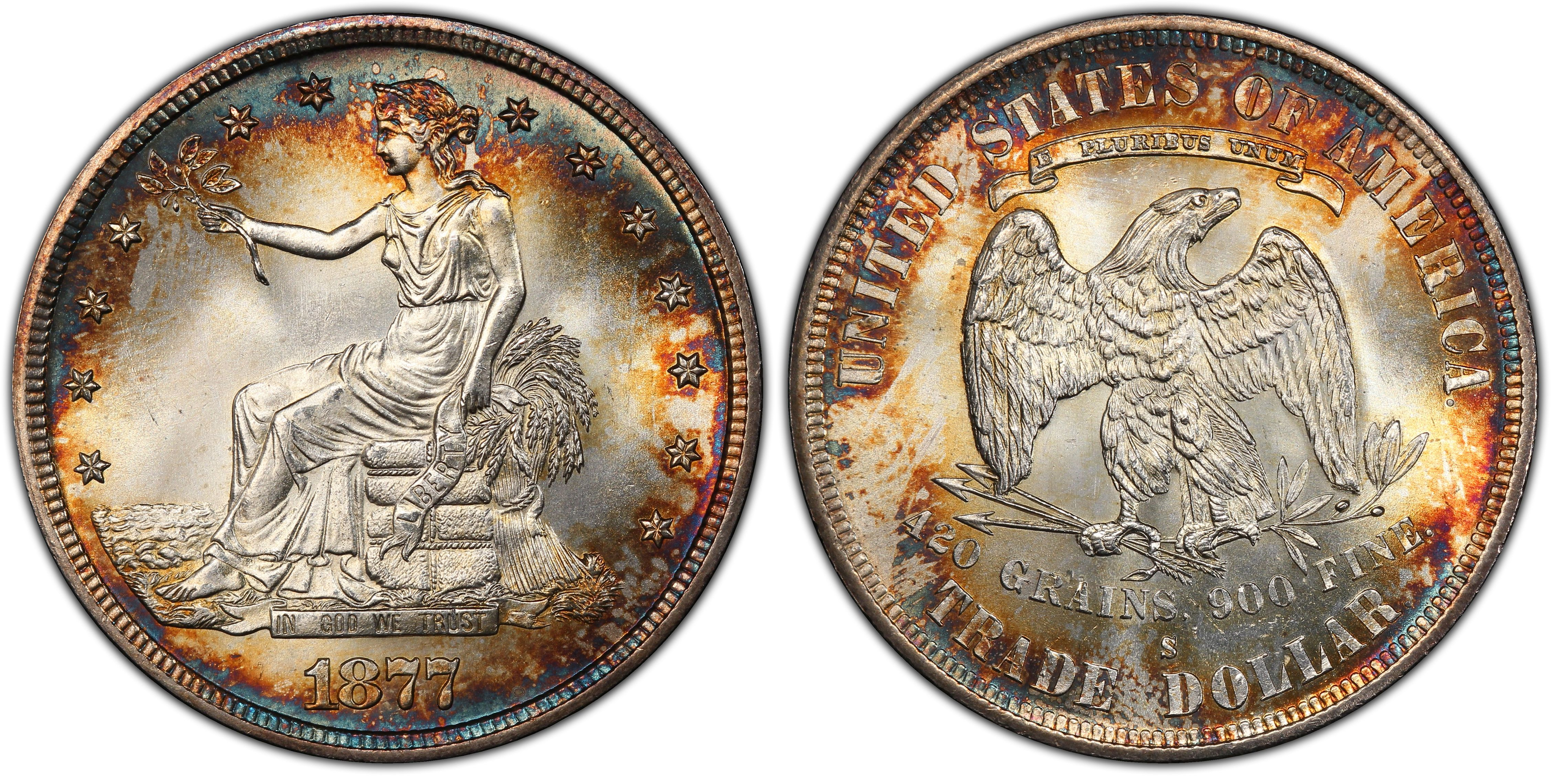 1877 S T1 Regular Strike Trade Dollar Pcgs Coinfacts