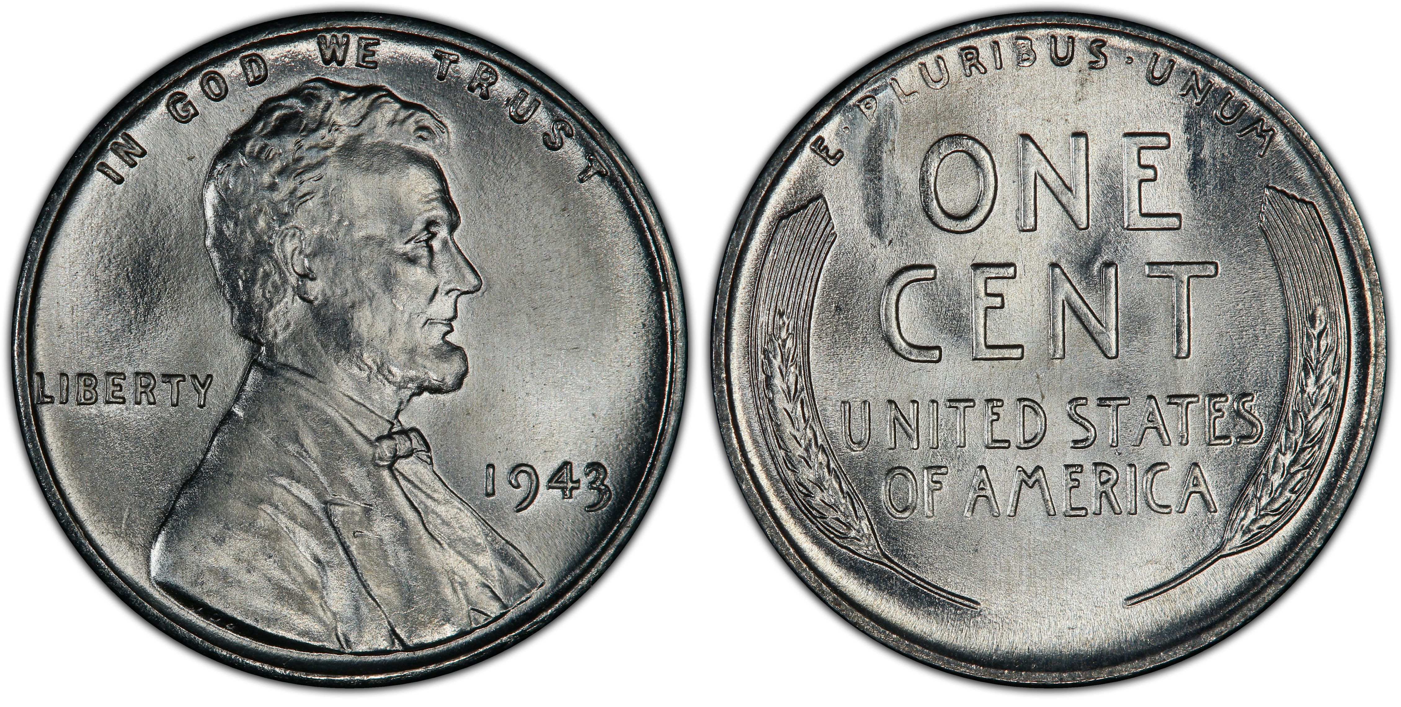 1943 1c Regular Strike Lincoln Cent Wheat Reverse Pcgs Coinfacts