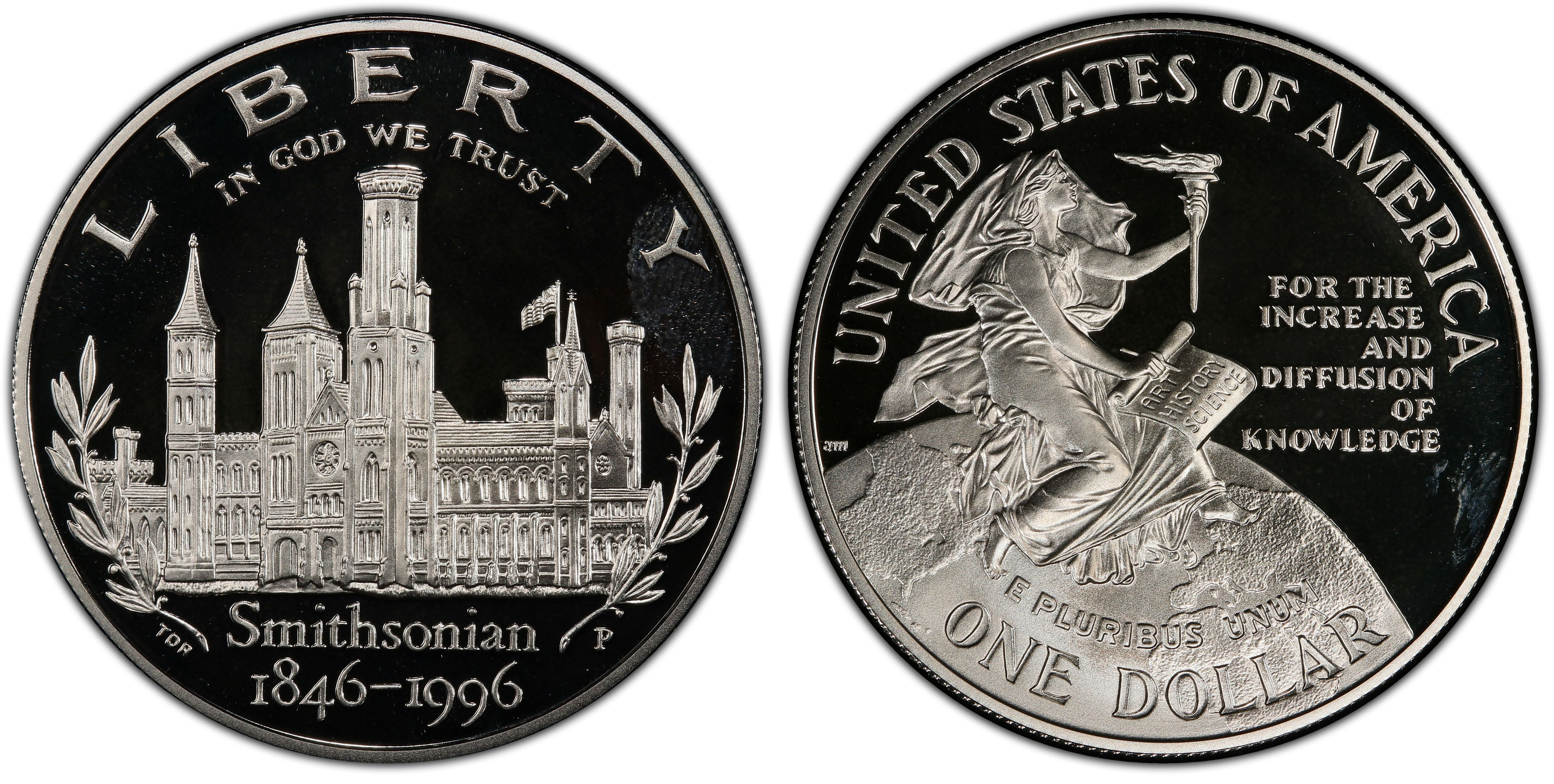 1996-P US Smithsonian 150th Anniversary Proof Silver Dollar Special Edition