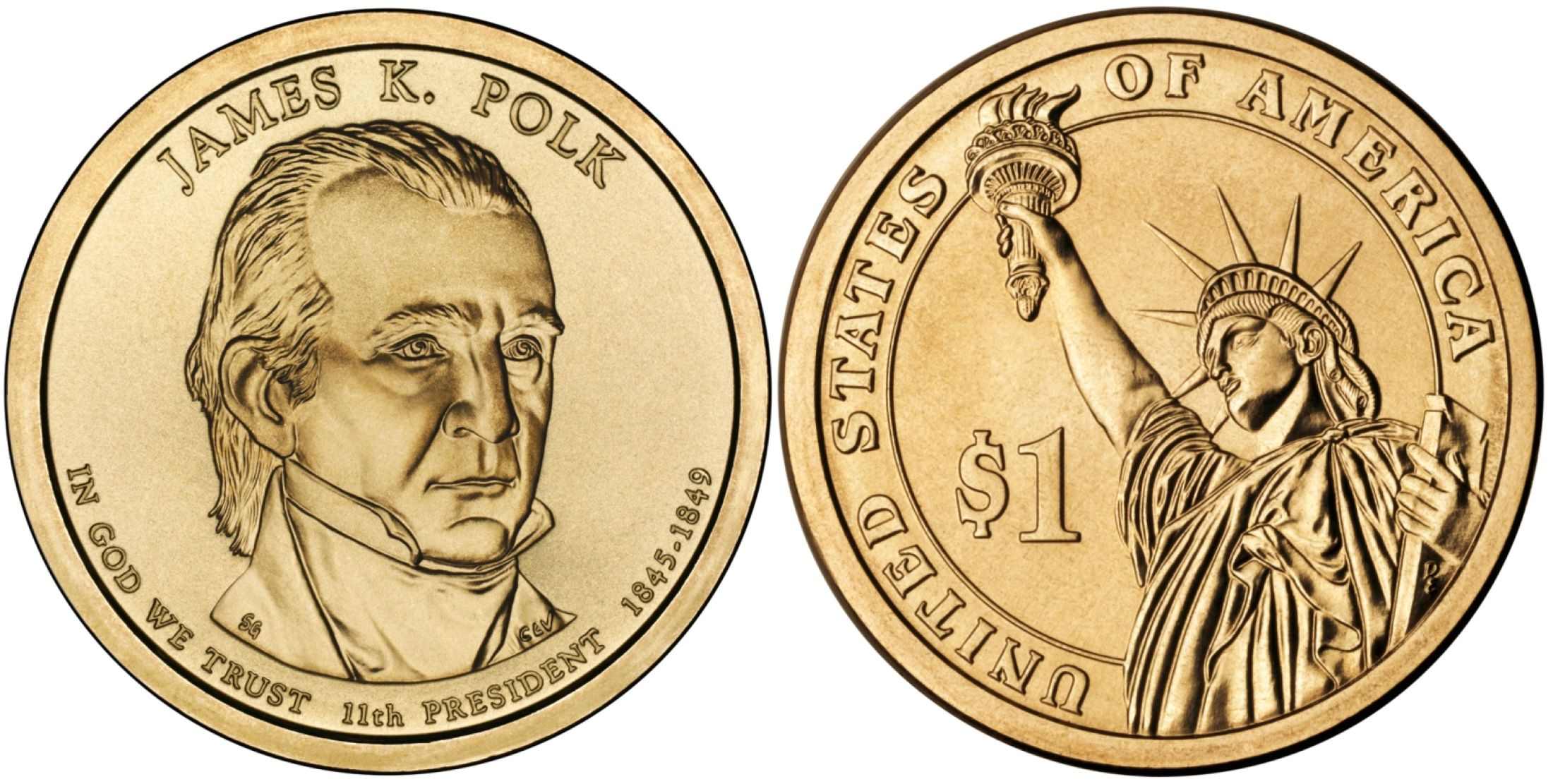 PCGS SP68 MS68 2009-P James K Polk Presidential Dollar Pos B Satin Finish