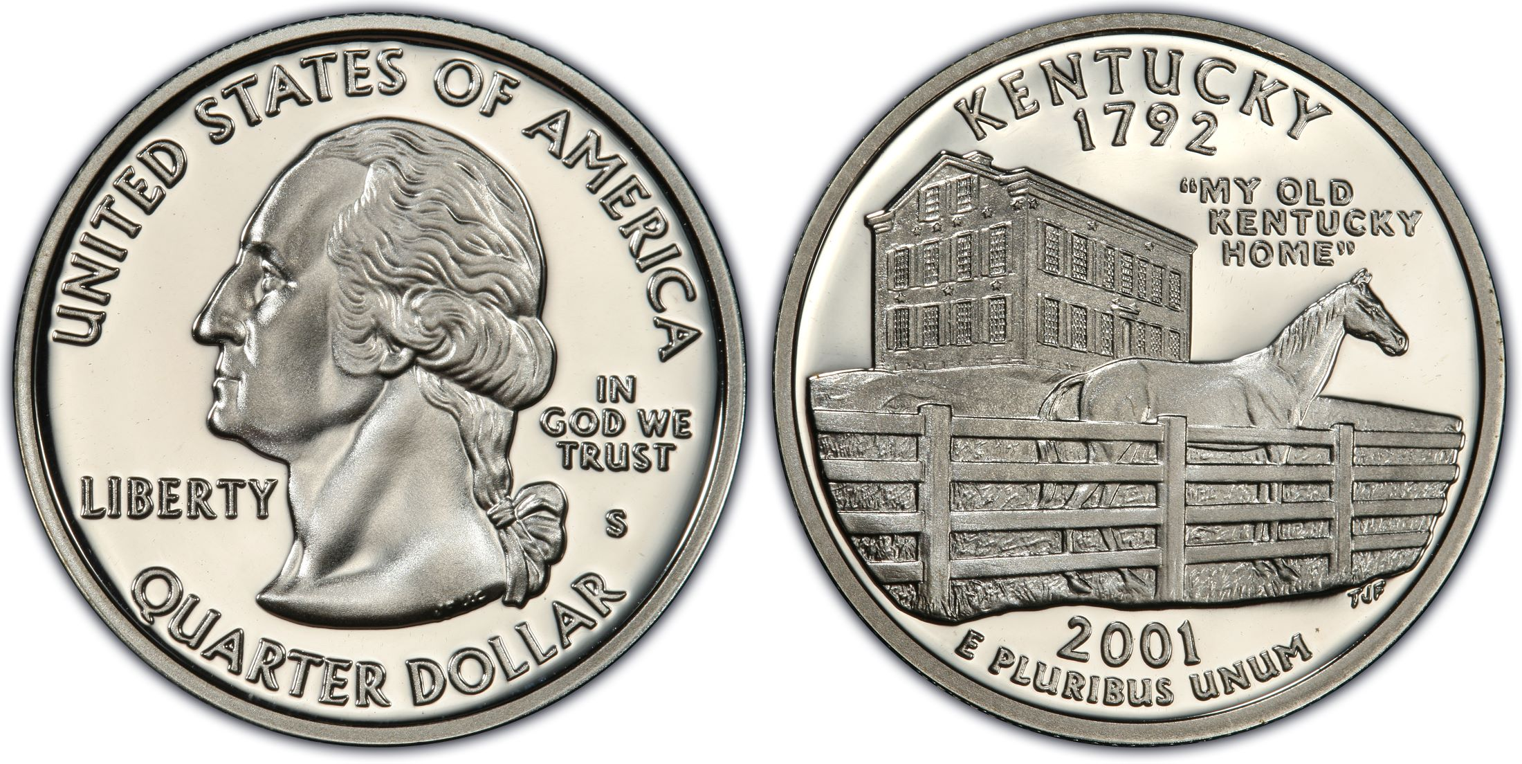 Silver 2001 S Kentucky Proof State Quarter With 2x2 Snap Dcam Combined Shipping