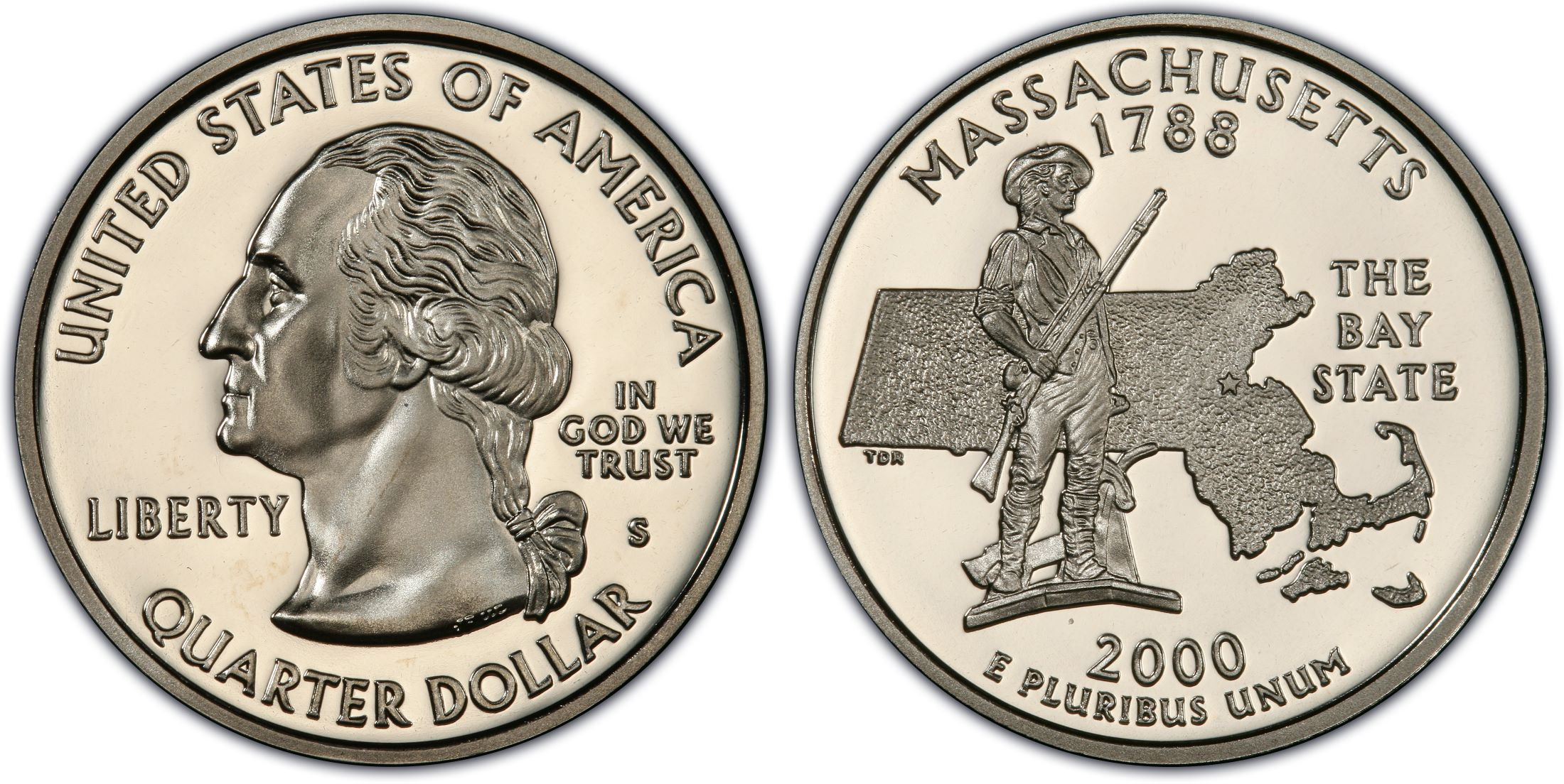 2000-S PCGS PR70DCAM Massachusetts SILVER Statehood Quarter