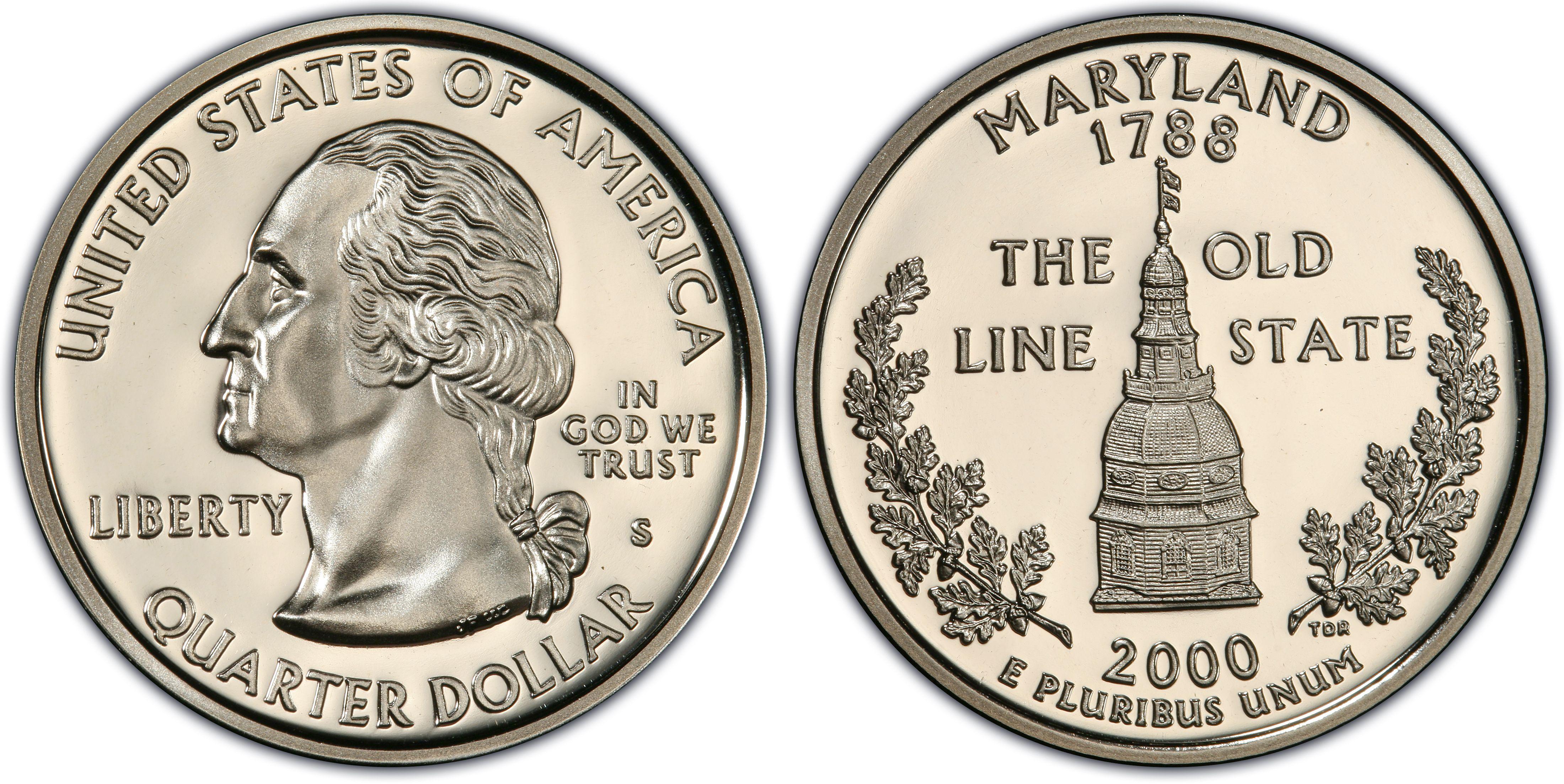 Maryland US Quarter 2000-S Deep Cameo SILVER GEM Proof 90/% SILVER