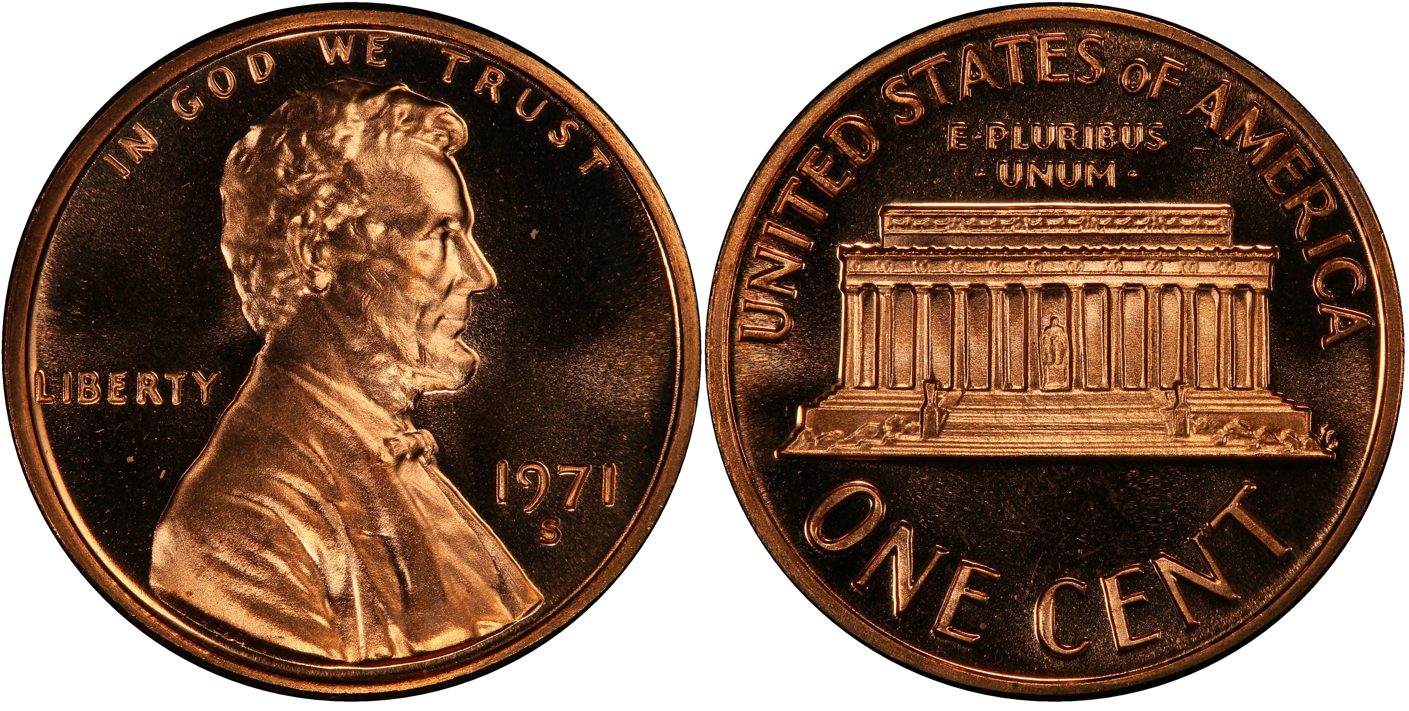 1 COIN 1971 S Lincoln Cent  DEEP CAMEO  PROOF