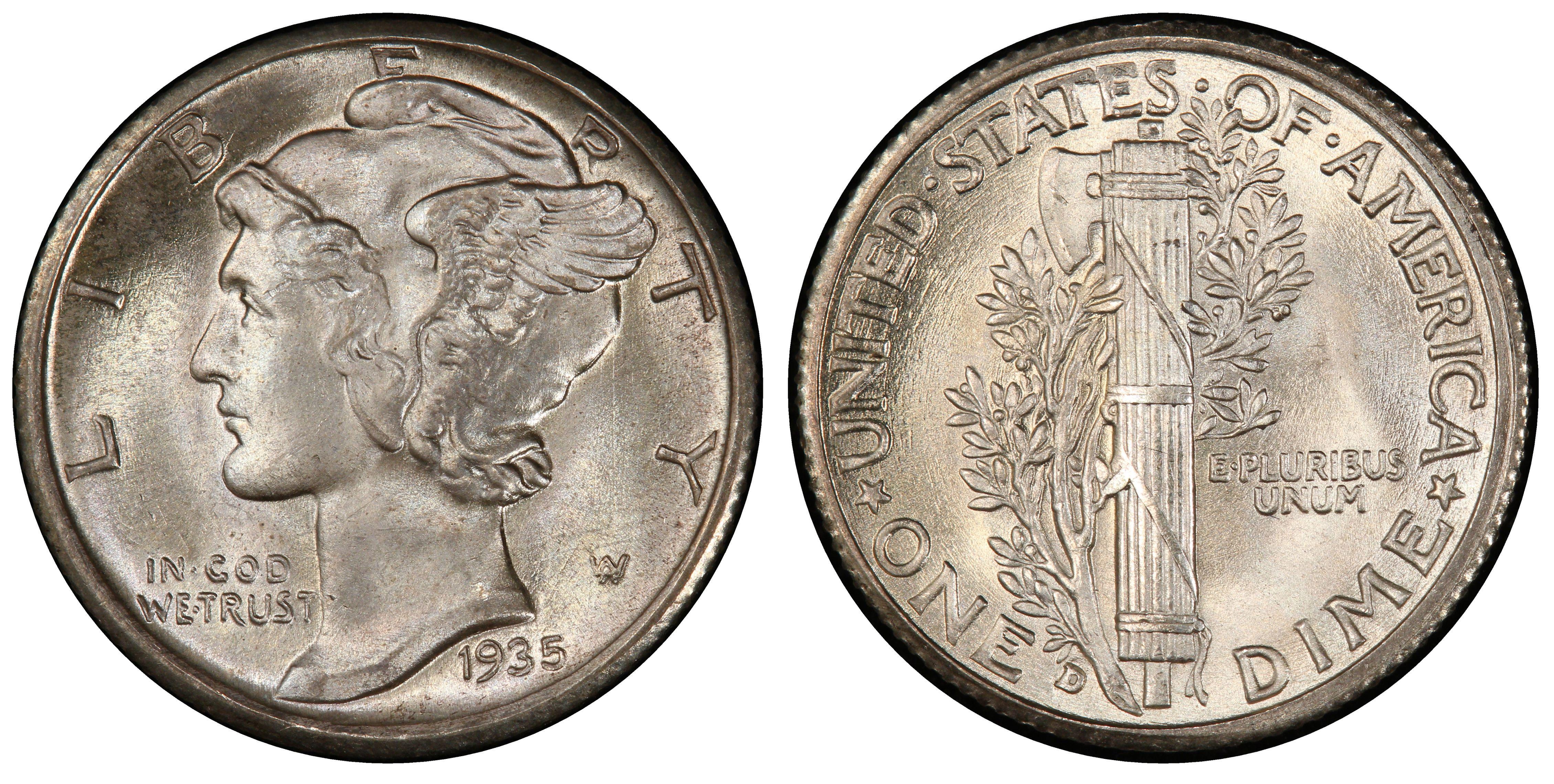 1935 D 10c Mercury Silver Dime US Coin Average Circulated
