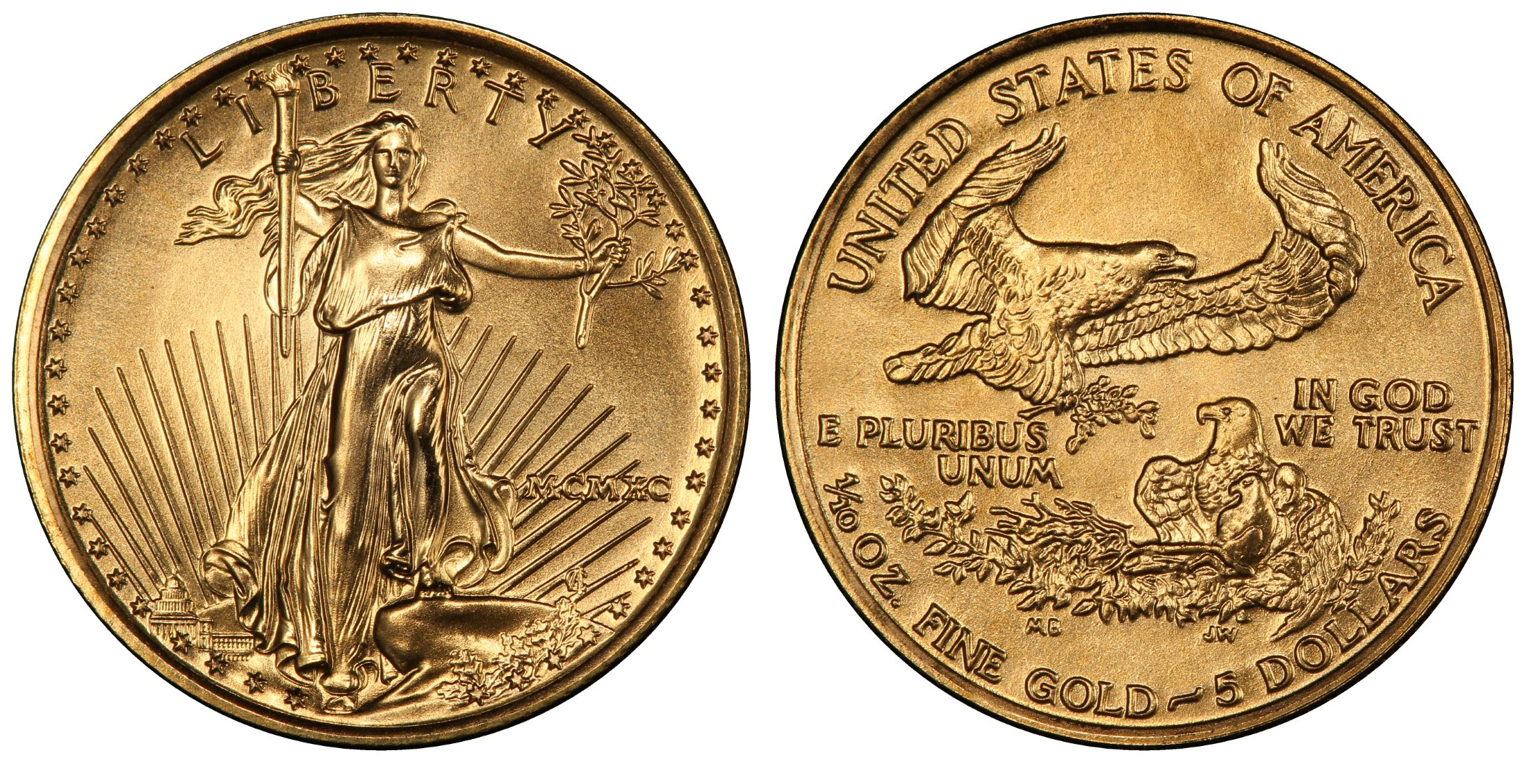 1990 5 Gold Eagle Regular Strike Pcgs Coinfacts