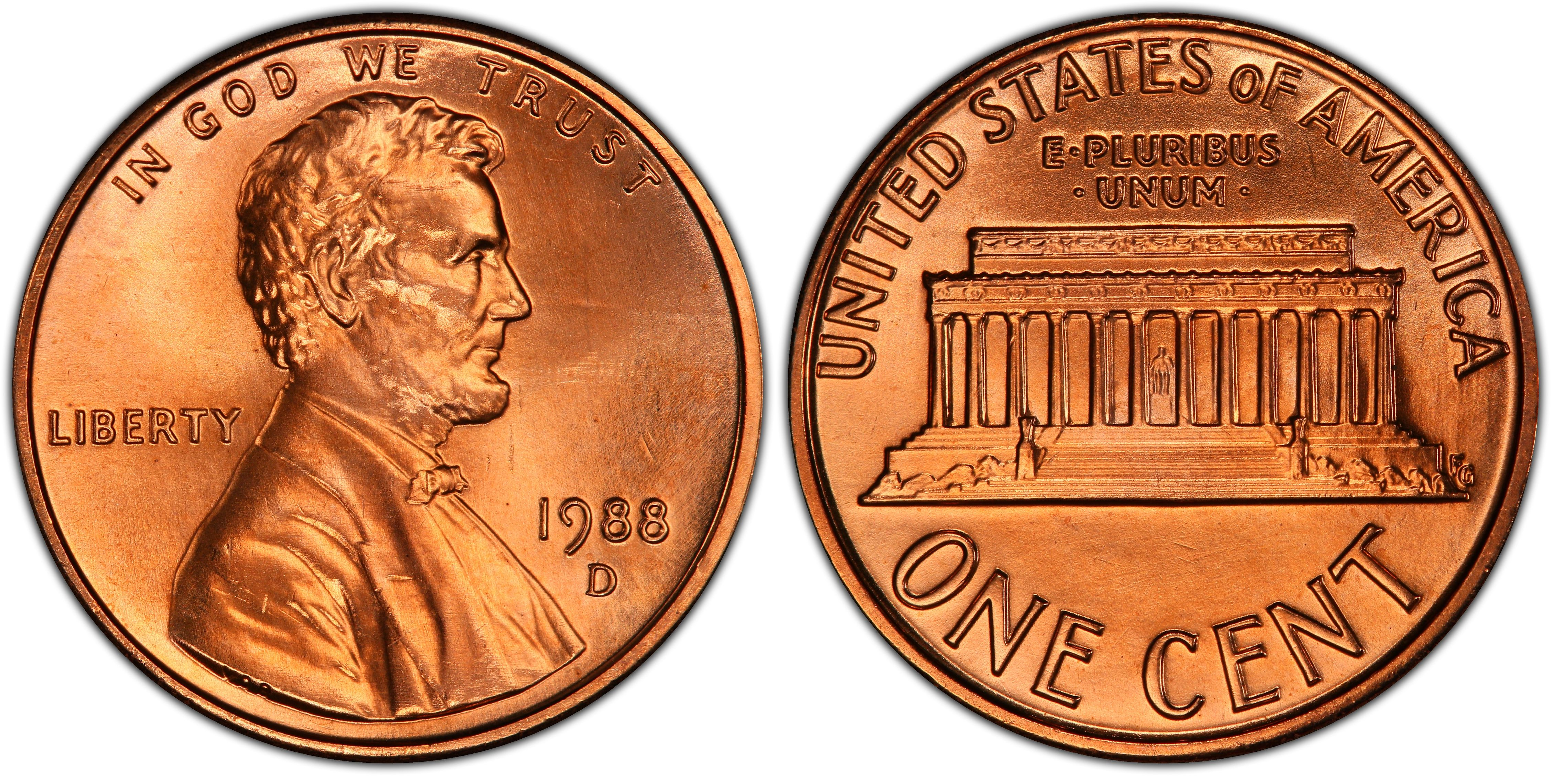 1988-D Lincoln Memorial Cent Uncirculated BU Red Penny