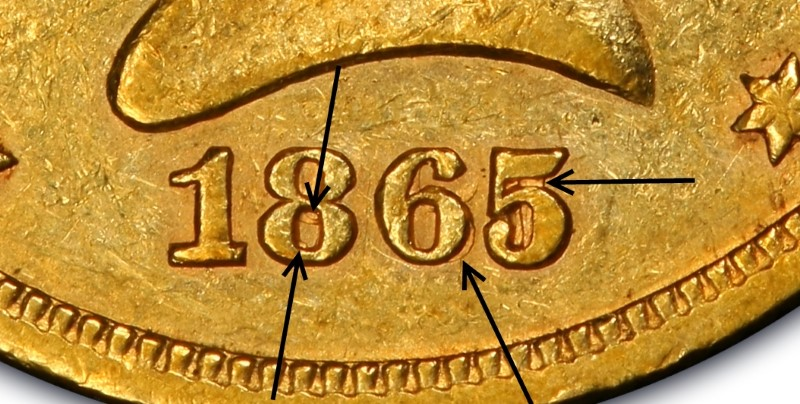 Closeup of 1865 over Inverted Date