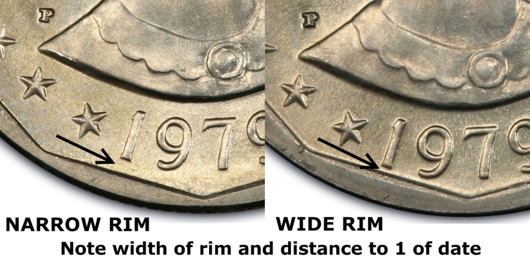 Uncirculated 1979 P SBA Susan B Anthony $1 Dollar Coin Narrow Rim Far Date