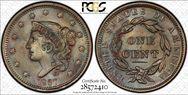 1837 1C Head of 1838 MS64BN