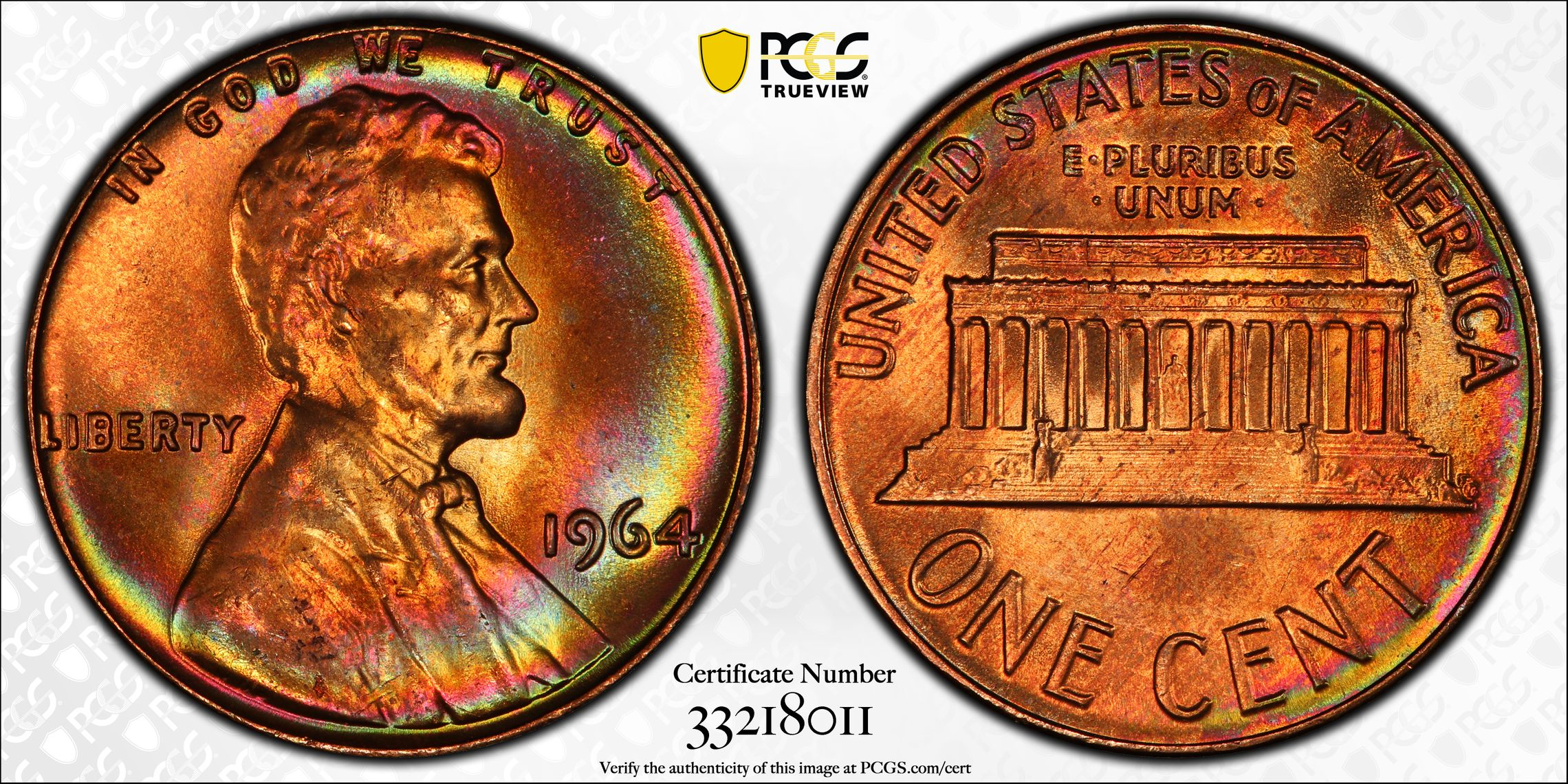 1964-P Lincoln Penny Cent Rainbow crescent Toning  1 nice coin