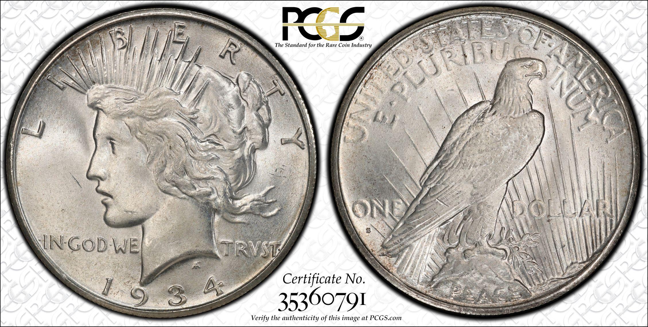 1925 Silver Peace Dollar Super MS Cartwheel Luster