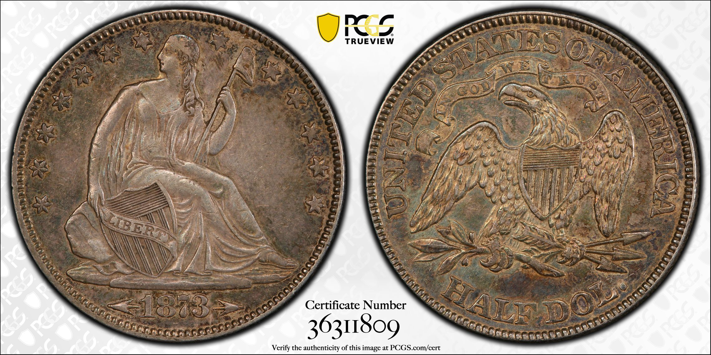 GFRC Open Set Registry - J B N 1873 Seated With Arrows 50C
