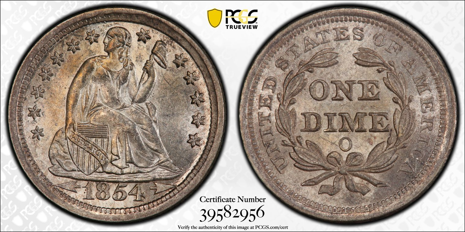 GFRC Open Set Registry - Coulombe Family 1854 Seated With Arrows 10C